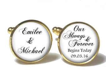 Personalized Groom Cuff Links Style 684
