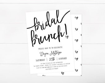 Bridal Shower Invitation, Bridal Shower Brunch, Brunch and Bubbly, Simple, Black and White, Hearts  (847)