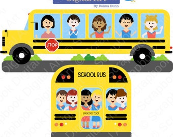 School Bus Clipart, School Clip Art, Education Clipart. Colegio, escuela, Bus Escolar.
