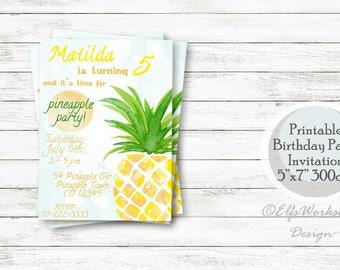 Pineapple Invitation, Pineapple birthday invitation, Pineapple invite, Pineapple party invitation, Pineapple bithday party invitation