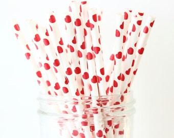Paper Straws, Red Heart Straws, Mason Jar Straws, Alice in Wonderland, Birthday Decor, Vintage Straws, Retro Party, Cake Pop Sticks