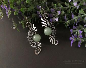 Wings Earrings, Wire Wrapped Earrings, Sterling Silver Wings Earrings, Elven Earrings, Nephrite Earrings, Wire Wrapped Jewelry, OOAK Earring