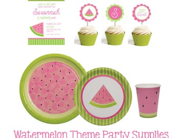 Watermelon Party Supplies- Watermelon Birthday Party Supplies- Watermelon Paper Plates- Watermelon Paper Cups