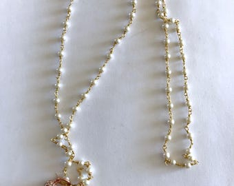 Glass Pendant, Gold heart, disco ball, Tassel, pearl rosary necklace, Gifts for her, Lilyb444