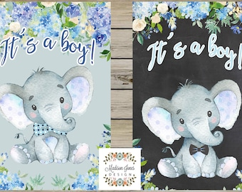 Beautiful ITS A BOY Baby Shower SIGN, Boy Elephant Baby Shower Sign, Two Choices - 4x6 foot other sizes & colors too - Digital Printable