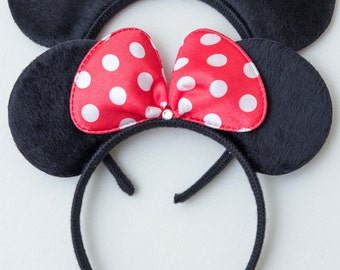 Minnie and Mickey Mouse Ears_2ct_ Headbands_Polka Dot Red, Pink Bow Minnie Ears, Mickey Ears for Picture, Dress up, Theme Birthday Party