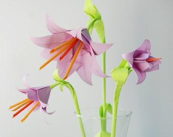 Origami bell flower etsy lavender bell flower bouquet mightylinksfo