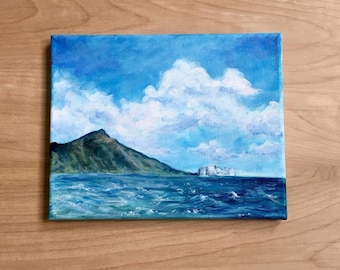 Original Acrylic Painting of Diamond Head in Waikiki, Hawaii