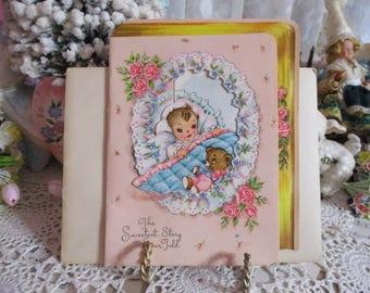 Vintage Retro Mid Century Greeting Card-Baby-Unused-Children's