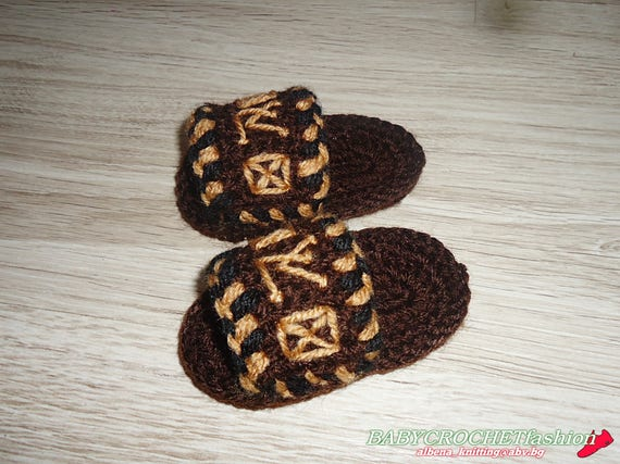 Baby Hausschuhe Louis Vuitton Pantoffeln häkeln Baby