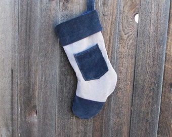 Christmas Stocking - Black and tan -  Re-purposed Corduroy