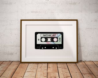 Mix Tape Digital Print, Tape Cassette Art, Awesome Mix, Digital Download, Printable Art, Wall Art, Instant Download, 80s Art, Music Art