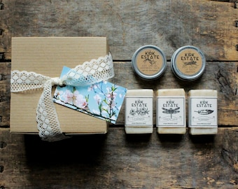 Bath + Body Gift Box Set, 3 small cold process soaps + lip balm + hand + body salve, gift box, spa + relaxation, natural soap, gift for her