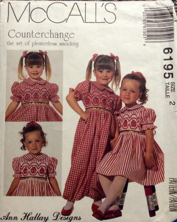 Vintage Schnittmuster Smok Äpfel Kleid Overall Counterchange