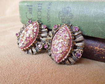 Vintage 60's Earrings,  Purple and Gold Glitter Clip on Earrings, Lucite, Mid Century, Rockabilly, 50's Style