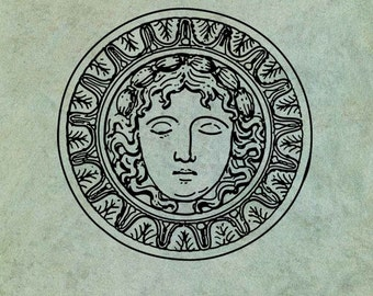 Sunburst Style Grecian Goddess Face - Antique Style Clear Stamp