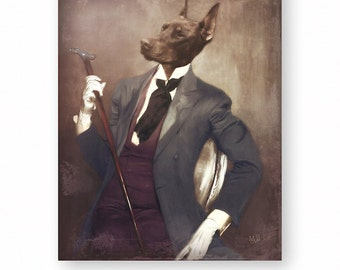 """Doberman Pinscher Art Print Dog Wall Art Animal Art Print Dogs In Clothes Anthropomorphic (3 Sizes Available) """"One Snazzy Dobie"""""""