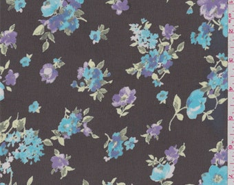 Black/Turquoise Floral Chiffon, Fabric By The Yard