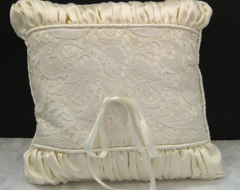 """handmade vintage lace ring-bearers pillow with tie - 14"""" square"""