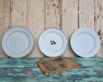 Antique Ironstone Plate Collection of Three Mismatched Plates - Vintage Gray Ringed Restaurant Ware, Tea Leaf Ironstone, Powell Bishop Plate