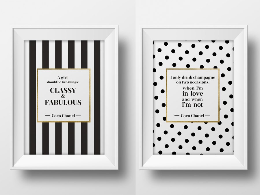 Coco Chanel quote wall art printable typographic poster