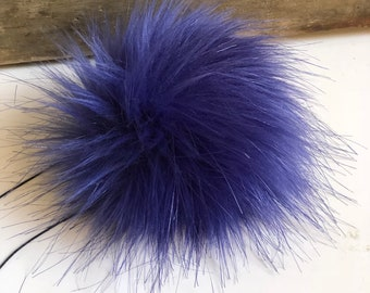Violet Luxury Faux Fur Pom Poms Handmade Vegan Cruely Free for Toques Beanies Hats