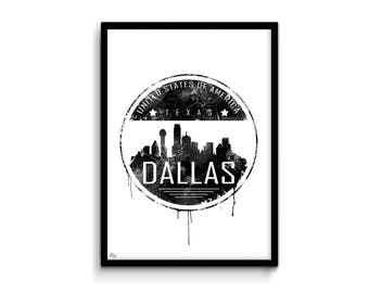 Dallas way buffer, Dallas, USA illustration, wall decor poster, birthday gift idea