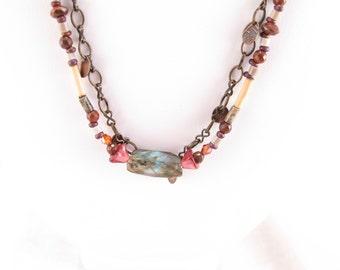 Necklace-labradorite focal bead-glass flower beads, bamboo, jasper, marble-brass chain-beadwork-boho style-jewel tones-bamboo beads-eco