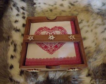 Mountain style wooden napkin holder