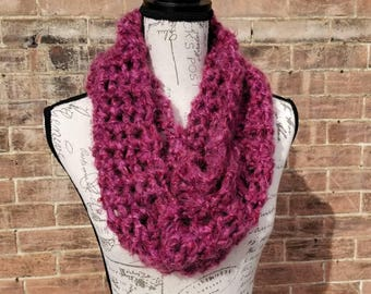 Statement Scarf, Rose Colored Scarf, Fluffy Scarf, Fuzzy Scarf, Statement Cowl, Crochet Circle Scarf, Knit Infinity Scarf, Loop Scarf, Ruby