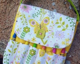 Butterfly Crayon Purse, Toddler Purse, Little Girl's Purse, Preschool Purse, First Purse