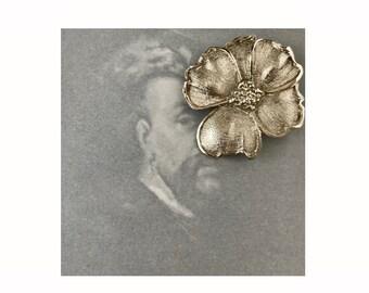 Vintage KJL Flower Brooch, Kenneth Jay Lane Silver Tone Brooch, Signed K.J.L., Original 1960s