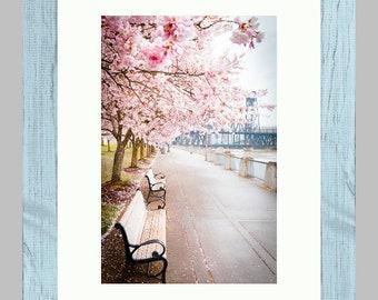 Cherry Blossoms Steel Bridge, Portland, OR, Portland Photography, Framed Photo, Spring in Portland