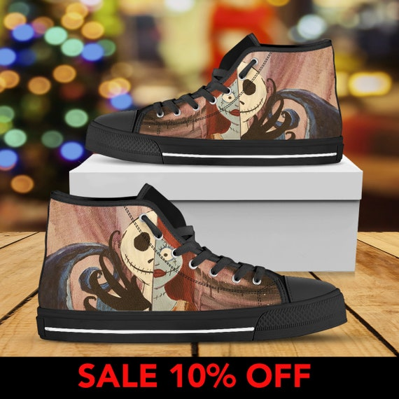 Nightmare Christmas Jack Jack Before Halloween High Skellington Christmas Sneaker Shoes And Top Nightmare Custom Sally Shoes Converse SS6IF