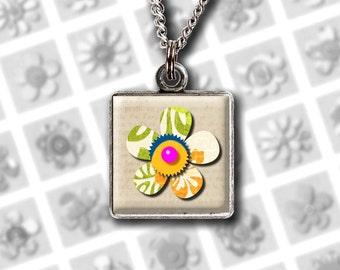 Rustic flowers, digital collage sheet flowers clipart, resin pendant square images, 1 inch square, glass pendant images instant download