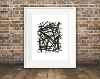 Expression #1, Abstract Black and White Art, Black and White Art Print, Minimalist Art