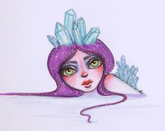 Crystal Girl Fantasy Drawing