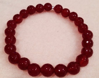 Carnelian Deep Sienna Red 8mm Small Faceted Round Stretch Bead Bracelet with Sterling Silver Accent