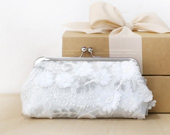 Ivory Silvery Grey Sequins Sakura Floral Clutch | wedding clutch, purse for Bride, Bridesmaid, Mothers