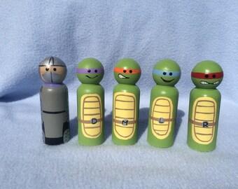 Teenage Mutant Ninja Turtles and Shredder hand painted peg people boy toy