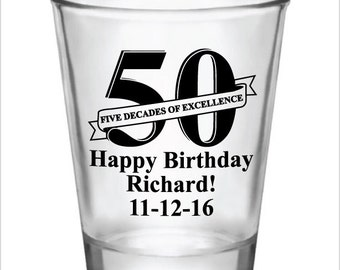 50th Birthday Party Favors Personalized 1.75oz Glass Shot Glasses 50 Five Decades of Excellence Custom Name and Date