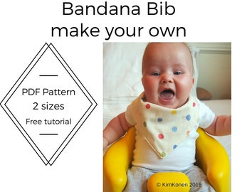 Bandana Bib PDF Pattern | Tutorial Digital Download | Drool Bib Pattern | DIY |