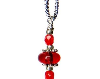 Red Bead Pendant, Lampwork Pendant, Statement Pendant, Indian Pendant, Round Tribal Pendant, Handbag Accessory, Lampwork Keyring