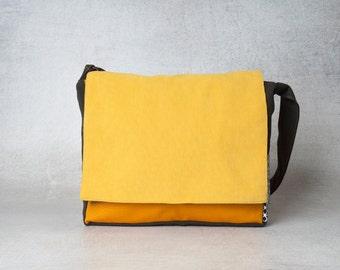 Orange laptop messenger bag, cross body bag, women shoulder bags, men canvas messenger bag, crossbody bags, satchel bag, college laptop bag