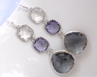 Purple Earrings, Gray Earrings, Grey, Glass, Dangle, Drop, Clear, Silver, Bridesmaid Jewelry, Bridal, Bridesmaid Earrings, Bridesmaid Gift