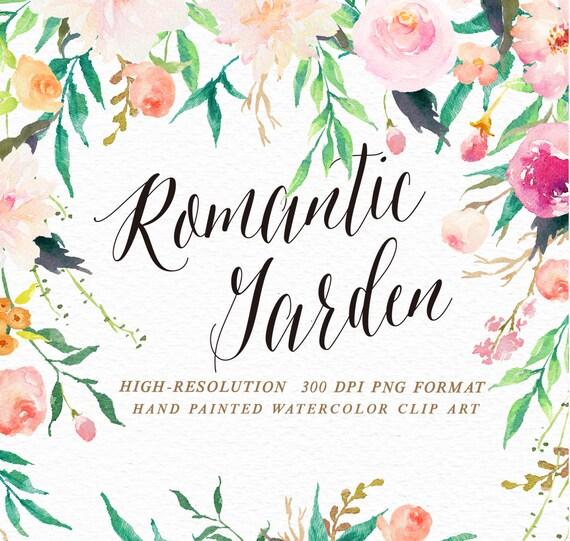 Corner Floral Garden Area: Watercolor Flower Clip Art-Romantic Garden/Wedding
