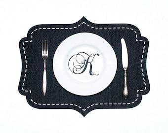 Set  Felt Placemats / Black Placemats / Mat Table