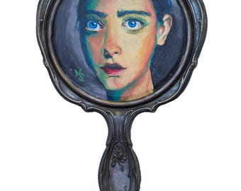 Print of Hand Painted Portrait on Pewter Vintage Hand Mirror / Handheld / Vanity Mirror