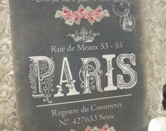 Shabby Chic French / PARIS hanging Plaque