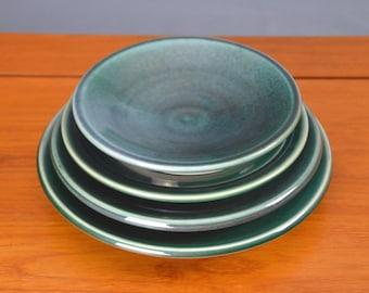 Green Ceramic Plate Set, Hand Thrown Porcelain Pottery, Dinner Plate, Salad Plate, Serving, Platter, Teal, Wedding Gift   Caldwell Pottery